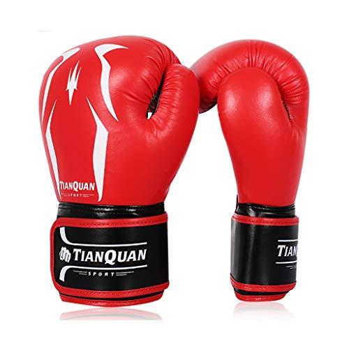 Männer und Frauen Leder Boxhandschuhe Ausbildung Muay Thai Boxsack Mitts Kickboxing Kampf 8-10-12 Oz (Farbe : Red, größe : 10oz)