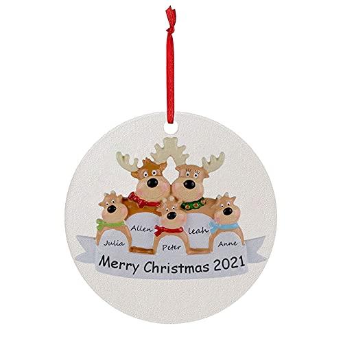 TianWlio Runden Anhänger Holz Elchdruck Weihnachten Deko,Holz Christbaumschmuck Weihnachtsbasteln Weihnachtsbaum Anhänger Weihnachtsdeko zum Aufhängen