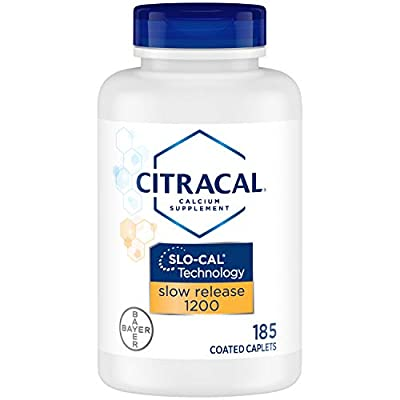 Citracal Slow Release 1200, 1200 mg Calcium Citrate and Calcium Carbonate Blend with 1000 IU Vitamin D3, Bone Health Supplement for Adults, Once Daily Caplets, 185 Count