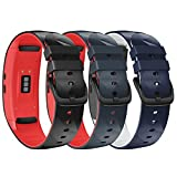 NotoCity Compatible with Samsung Gear Fit 2 Band Sport Silicone Wrist Strap for Samsung Gear fit2 Pro/Gear Fit 2 Smartwatch(Black-red,Slate-red,Dark Blue-White, Small)