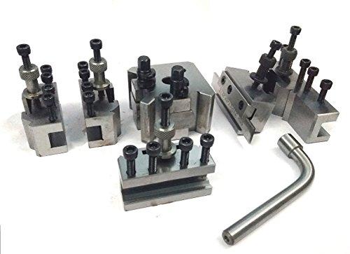 T37 Schnellwechselwerkzeug-Pfosten-Set + 5 Halterungen, Myford & Drehbank, 90-115 mm Mittenhöhe