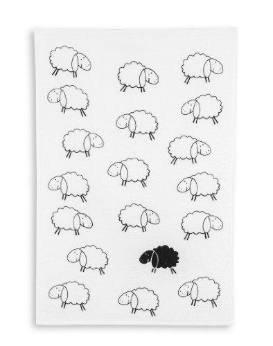 KRACHT, Geschirrtuch Frottier, Druck schwarzes Schaf, 45/70cm, 100% Baumwolle