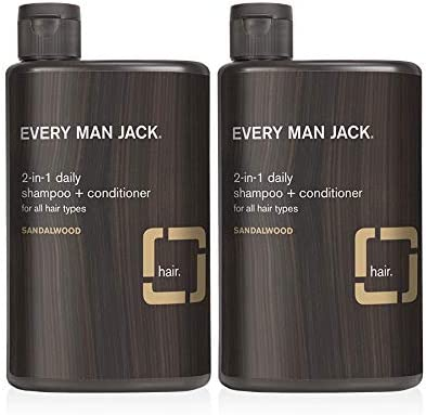 Every Man Jack 2 in 1 Daily Shampoo Conditioner Sandalwood 13 5 ounce Twin Pack 2 Bottles Included product image