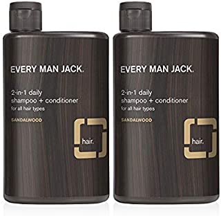 Every Man Jack 2-in-1 Daily Shampoo + Conditioner - Sandalwood | 12-ounce Twin Pack - 2 Bottles Included | Naturally Deriv...