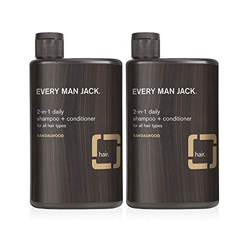Every Man Jack 2-in-1 Daily Shampoo + Conditioner - Sandalwood   13-ounce Twin Pack - 2 Bottles Included   Naturally Derived, Parabens-free, Pthalate-free, Dye-free, and Certified Cruelty Free