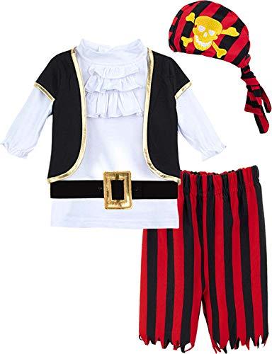 MOMBEBE COSLAND Conjunto de Camiseta Bebé Niño Pirata de Manga Larga (18-24 Meses, Rojo)