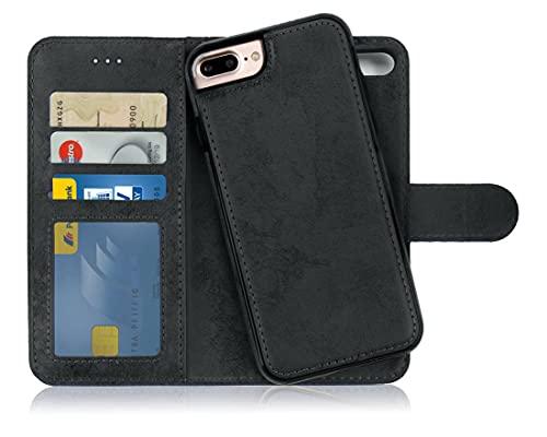 MyGadget Flip Hülle Handyhülle für Apple iPhone 7 Plus / 8 Plus - Magnetische Hülle aus Kunstleder Klapphülle - Kartenfach Schutzhülle Wallet - Schwarz