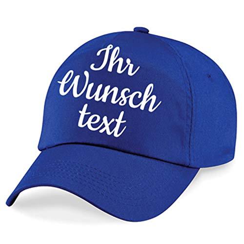 Kappe, Basecap individuell bestickbar mit Namen oder Wunschtext | 26 Farben zur Auswahl Royalblau