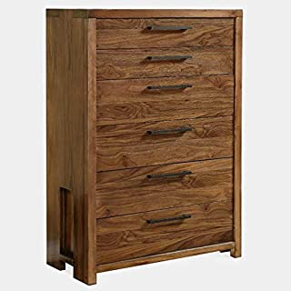 Wood Chest with Metal Glides - Dresser with 6 Drawers and Gloss Finish - Black