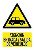 Cartel Resistente PVC - ENTRADA/SALIDA VEHICULOS - Señaletica de advertencia