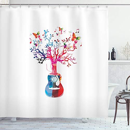 ABAKUHAUS Gitarre Duschvorhang, Baum-Schmetterlinge Artful, mit 12 Ringe Set Wasserdicht Stielvoll Modern Farbfest & Schimmel Resistent, 175x220 cm, Mehrfarbig