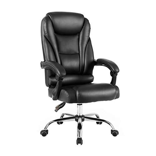 Yuansr Silla ergonómica Silla del Jefe Ordenador Personal sedentario cómodo Cuero de la Oficina Respaldo reclinable Silla Silla de Oficina Inicio del Asiento (Color : Black, Size : Style 1)