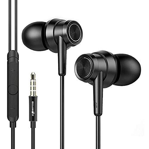 Auriculares con Cable, BlitzWolf Auriculares de Grafeno con Cancelación de Ruido, Auriculares In Ear, Micrófono y Control de Volumen para iPhone, Samsung, y Todos los Dispositivo de Interfaz de 3,5mm