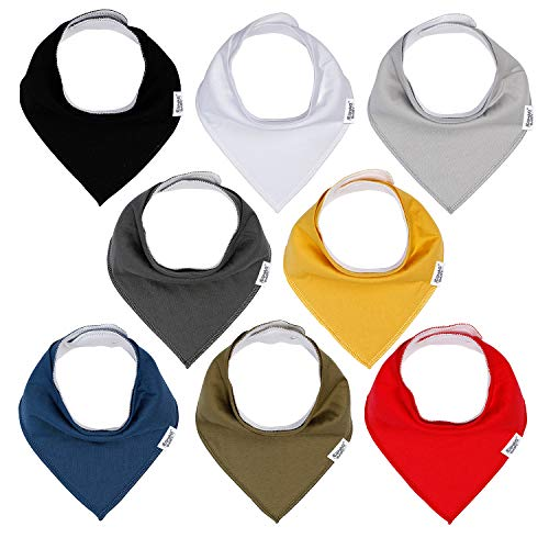 Baby Bandana Drool Bibs for Boys and Girls,Super Soft Unisex 8 Pack Absorbent Cotton Organic Bib Set for Teething and Drooling