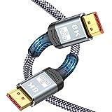 Cable DisplayPort 1.4 (2M) -Snowkids 8K Cable DP 1.4 4K@60Hz 2K@144Hz 1080P@240Hz Trenzado de Nailon/Aleación de Aluminio Accesorios de Computadora portátil TV/PC etc Monitor de juegos