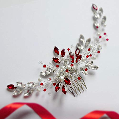 Aimimier Bridal Red Crystal Hair Comb Ruby Hair Vine with Comb Pearl Hair Piece Prom Party Festival Wedding Hair Accessories for Women and Girls
