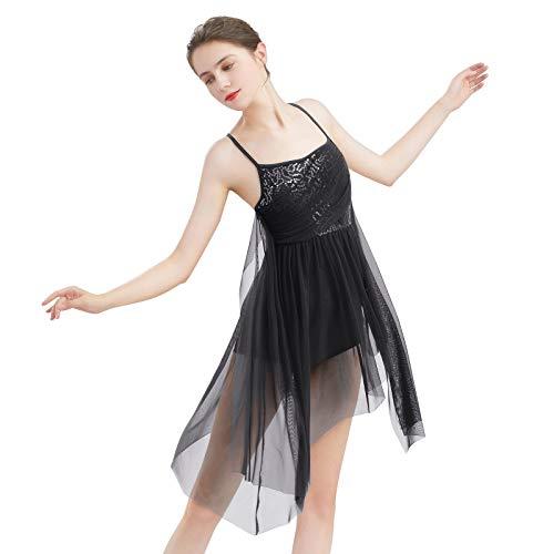 FYMNSI Disfraz de danza lrica para mujer, moderno, contemporneo, dancewear Sling lentejuelas, maillot de malla asimtrica, falda de tul de ballet, vestido de baile fluido, ropa de rendimiento
