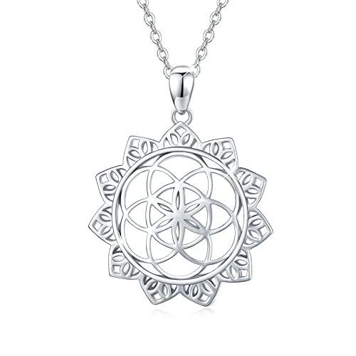Flor de la vida colgante de cadena de plata de ley 925 para mujer Flor de la vida collar de amuleto Cadena de nudo celta para niñas hombres