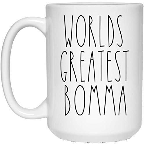 Taza de café de Worlds Greatest Bomma | Taza de café familiar | Casa de campo | Regalo Día de la Madre | Inspirado en Rae Dunn | Estilo Rae Dunn | Regalo para Bomma | Taza de café