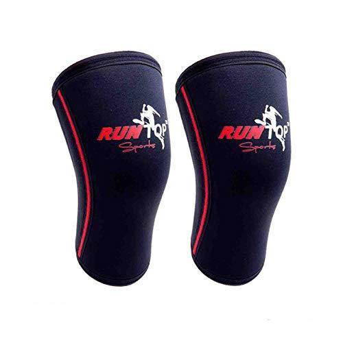 7mm Neopren Knieschützer Powerlifting Fitness Gewichtheben Laufen Knieschoner Stützkappe Kompression - NUR ROT 5MM ÄRMEL, L.