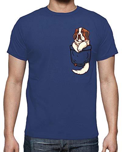 latostadora - Camiseta Bolsillo St para Hombre Azul Royal 4XL
