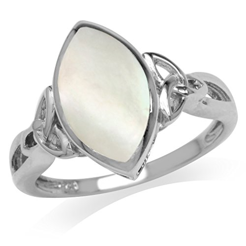 Silvershake Mother of Pearl White Gold Plated 925 Sterling Silver Triquetra Celtic Knot Ring Size 9