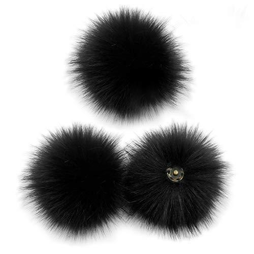 Y-POWER 3 Stück/Set 10 cm DIY bunter Pelz-Pom-Ball mit Druckknopf, abnehmbare flauschige Pompons zum Stricken von Mützen, Schuhen, Schals, Taschen, Zubehör