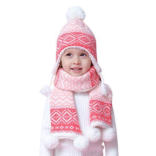 Bebè Bambine Sciarpa cappello lavorato a maglia termico Set 2 pezzi invernali Bimba Ragazze 4-8 anni Bebè Doppio strato Crochet caldo Berretto in cotone Beanie fazzoletto da collo, Boemia rosa XXL