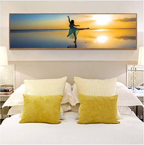 Jwqing Decoración del hogar Pintura en Lienzo Arte de la Pared Amantes Imagen Puesta de Sol Playa Bailarina Imprimir Cartel Moderno para Sala de Estar (50x150cm Sin Marco)