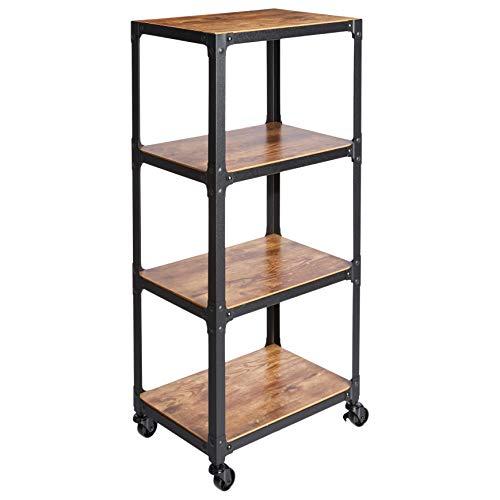 Amazon Basics 4-Tier Wood and Metal Utility Cart, Black/Brown
