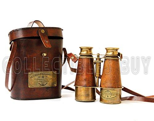 Antique Victorian Marine Brass Leather Binocular Sailor Instrument London 1915 (Orange)
