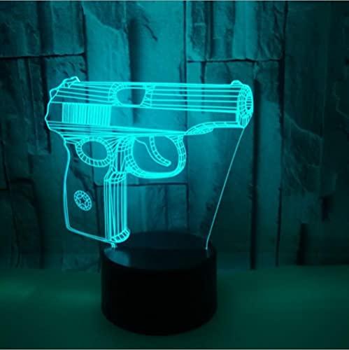 YQTYGB LED Lámpara de Mesa 3D con Control Sensor Regulable Lámpara de Noche de Atmósfera,Tacto Lámpara de Visual Para Niños Regalos.Pistola