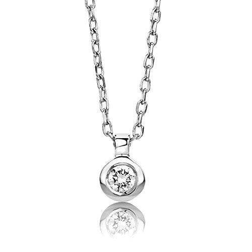Orovi Damen Halskette mit Diamant Weißgold Kette 9 Karat (375) Brillanten 0.05crt, Goldkette