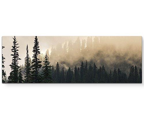 Eau Zone Wandbild auf Leinwand 120x40cm Wald im Nebel