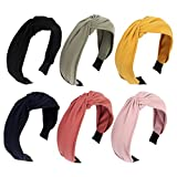AOPRIE 6 Packs Knot Headbands for Women Plain Headbands AOPRIE Top Knotted Headbands for Women Hair Bands for Women's Hair Solid Color Turban Headbands for Women Headbands for Women