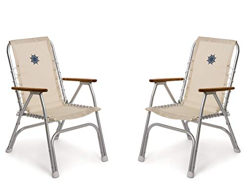 FORMA MARINE Set of 2 High Back Deck Chairs, Boat Chairs, Folding, Anodized, Aluminium, Off White, Model M150W