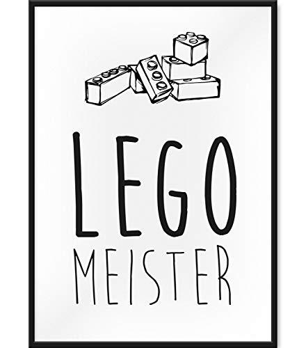Papierschmiede Kinderposter   DIN A4   Wanddeko fürs Kinderzimmer   Jungen Mädchen   Bilder für den Bilderrahmen   Lego Meister