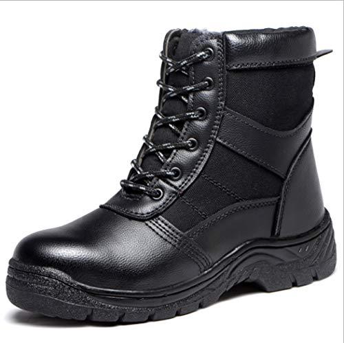 AZLLY leren laarzen voor heren, hoge haken, warm, gevoerd met suède, antislip, veiligheidsschoenen voor wandelen