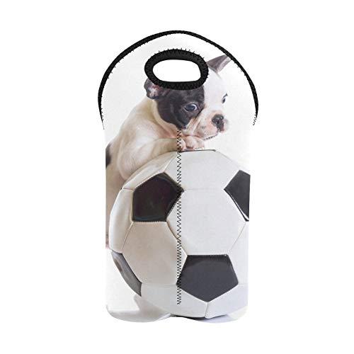Bolsa de vino reutilizable Bulldog francés Cachorro con balón de fútbol 1 bolsa de picnic para vino Portabotellas doble Bolsas de vino para viajes Soporte de botella de vino de neopreno grue