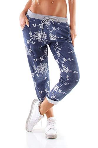 OSAB-Fashion 4147 Casual dames joggpants joggingbroek sportbroek trekkoord vrije tijd bloemen boyfriend