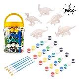 5 Dinosaurios y kit de Pintura con pinceles - Conjunto de arte todo incluido, ideal para fanaticos con dinosaurios, perfecto para manualidades y actividades.