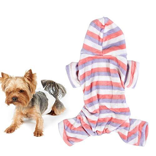 Huisdier Winter pyjama Kleurrijke Streep Kat Hond Jumpsuit Warm Huisdier Koraal Fleece Hoodies Comfortabele Puppy Kitten Vier Voeten Kleding, M