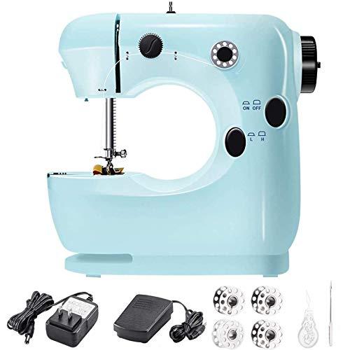 Mini máquina de coser portátil, multifuncional, portátil, máquina de coser eléctrica para principiantes, máquina de coser a mano ligera para principiantes, sastres/artes/manualidades