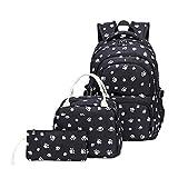 Fanci 3Pcs Lovely Dog Paw Prints Junior Schoolbag Bookbag for Teens Girls...