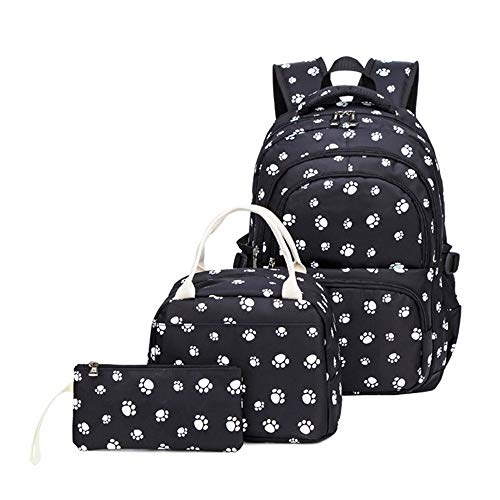 Adanina 3Pcs Dog Paw Prints Backpack Back Sets Primary School Student Book Bag School Bag for Students …