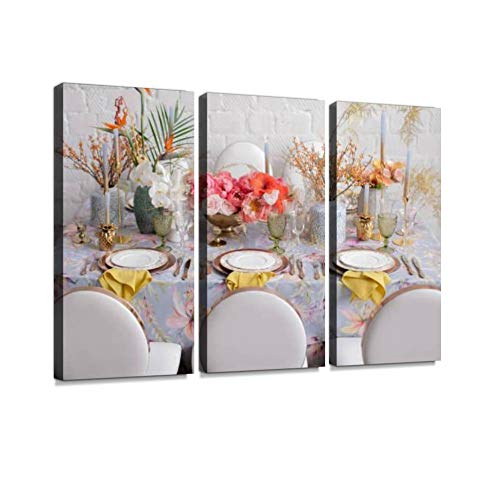 BELISIIS Festive Table Decor Many Pastel Colors Luxury Wedding Party Birthday Wall Artwork Exclusive Photography Vintage Paintings Print on Canvas Home Decor Wall Art 3 Panels Framed Ready to Hang