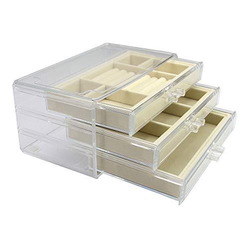 Schmuckschatulle mit 3 Schubladen | Ringaufbewahrung | Acryl Ohrringhalter | Transparente Halsketten Aufbewahrung | Armbandetui | Pukkr (Creme)