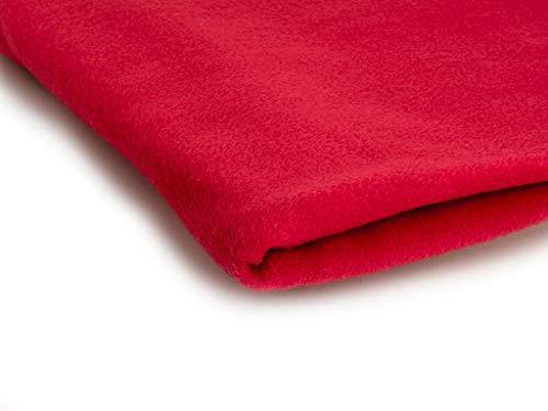 Polare vello Tessuto 300 g/m² - Disponibile in 50 colori - 50 x 155 cm (Rosso)