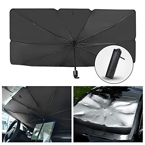 smatoy Parasol plegable para parabrisas delantero de coche, protección UV y calor, reflector para parabrisas delantero y trasero de 19 x 25,6 cm