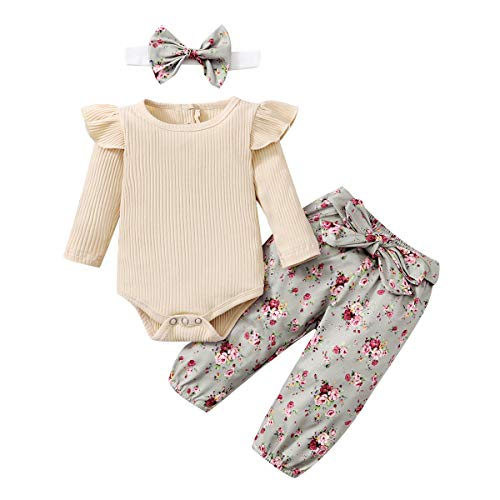 Amissz Traje de bebé niña de Manga Larga Bodys Algodón con Outfit Pelele 0-24 Meses Volantes